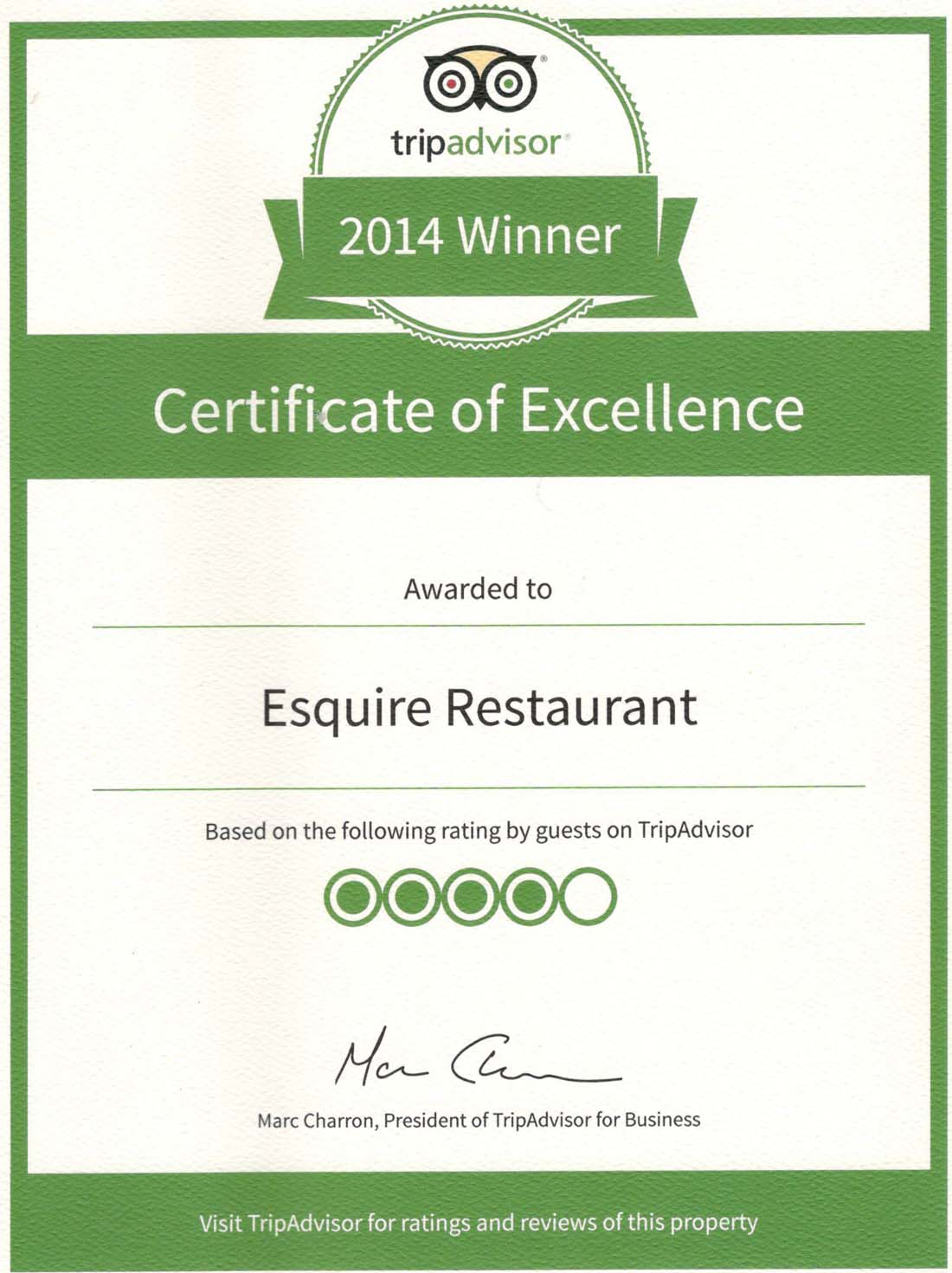 Certificate Of Excellence Esquire Restaurant